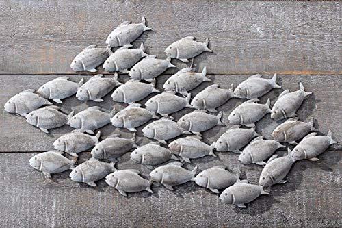 B&B Wandbild Fischschwarm aus Eisen in Grau 97 x 54 cm Fische Bild
