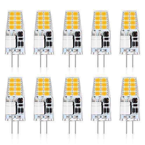 Reteck 10er Pack G4 2W LED Lampen, 210lm, 2W ersetzt 20W Halogenlampen, Nicht Dimmbar, Warmweiß(2900K), 12V AC/DC, G4 LED Leuchtmittel Birne
