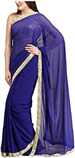 Sharvgun Women's Georgette Saree Plain Solid Colors Indian Bollywood Saree (Sari) with Unstitched Blouse Piece
