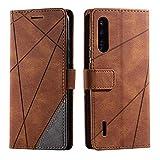 Hülle für Xiaomi MI A3, SONWO Premium Leder PU Handyhülle Flip Hülle Wallet Silikon Bumper Schutzhülle Klapphülle für Xiaomi MI A3, Braun