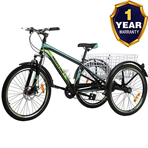 VANELL Adult Mountain Tricycle 20/24/26 in 7/1 Speed Three Wheel Cruiser Trike Bike with Front...