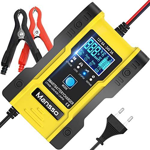 Mansso Autobatterie Ladegerät 12V/24V Batterieladegerät Vollautomatisches Intelligentes KFZ Ladegeräte mit LCD-Touchscreen für Auto, Motorrad, Rasenmäher oder Boot