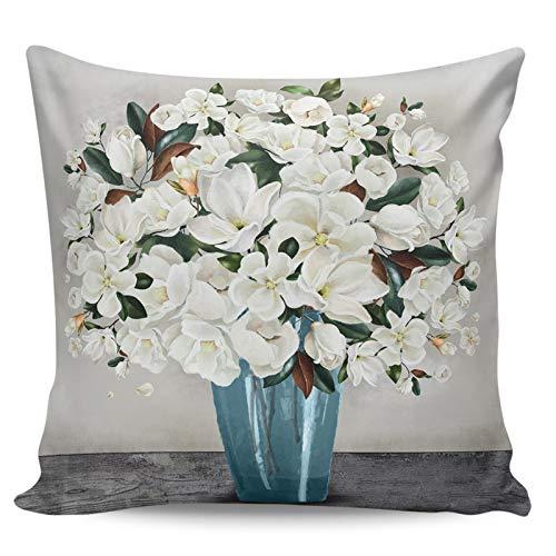Scrummy Fundas de almohada de 50,8 x 50,8 cm, estilo de pintura al óleo, romántico, blanco, magnolia, florero, fundas de almohada decorativas, funda de cojín cuadrada para decoración del hogar