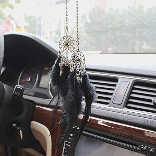 BIGBIGWORLD Auto-Anhänger für Rückspiegel zum Aufhängen, Feder, Heimdekoration, Pulloverkette, Schwarz