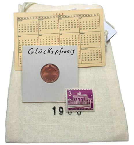 Glückspfennig (e) von 1920-2001 als symbolisches Geschenk zum Geburtstag Säckchen mit Jahrgangsstempel Taschenkalender postfrische Briefmarke etc. von Wallabundu Treasures
