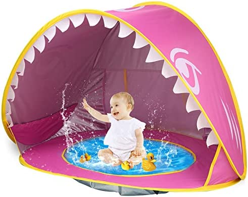 iGeeKid Baby Beach Tent Pool Shark Pop Up Portable Sun Shelter Tent with Pool UPF 50 UV Protection product image