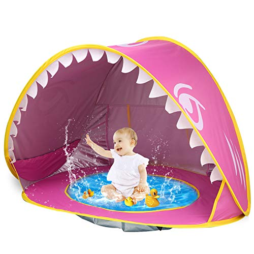 iGeeKid Baby Beach Tent Pop Up Shark Baby Pool Tent with Portable Sun Shelter Tent UPF 50+ UV Protection & Waterproof Sun Tent Beach Shade Baby Beach Pool Toys for Toddler Infant Aged 3-48 Months