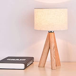 Mengjay Lámpara de mesa Lámpara de mesa moderna con base de madera y pantalla de lino para mesita de noche de oficina,enchufe europeo Ahorro de Energía Lámpara Mesita de Noche Para Dormitorio.