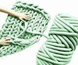 Arm Knit Yarn for Chunky Braided Knot Throw Blanket DIY, Mint Crochet Jumbo Extra Cotton Tube Cozy Bulky Giant Yarn for Weave Craft (Green Mint, 1.3 lbs / 23 Yards)
