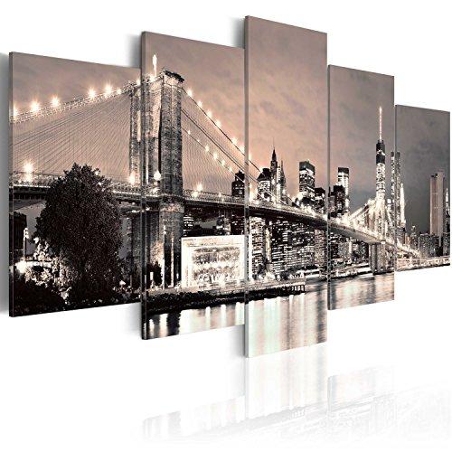 murando - Cuadro en Lienzo 200x100 cm New York Impresión de 5 Piezas Material Tejido no Tejido Impresión Artística Imagen Gráfica Decoracion de Pared Ciudad 030202-11