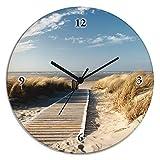 Artland Wand-Uhr Qualitäts-Uhrwerk geräuscharm Digital-Druck auf Glas Eva Gruendemann Nordseestrand auf Langeoog - Steg Landschaften Strand Fotografie Creme 35 x 35 x 1,8 cm