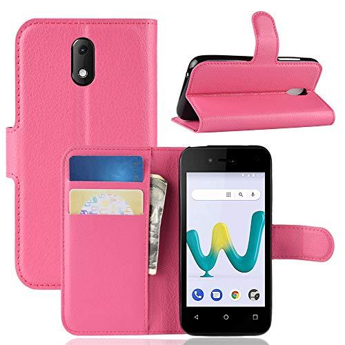 HongMan Handyhülle für Wiko Sunny 3 Mini Hülle, Premium Leder PU Flip Hülle Wallet Lederhülle Klapphülle Magnetisch Silikon Bumper Schutzhülle Tasche mit Kartenfach Geld Slot Ständer, Pink