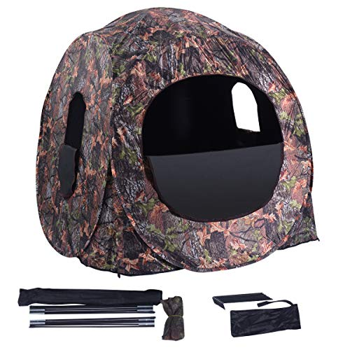 GYMAX Hunting Tent, 2-3 People Pop Up Hunting Blind Portable Ground Blind with Window and Backpack