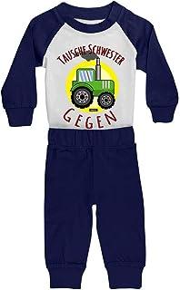 HARIZ HARIZ Baby Pyjama Tausche Schwester Gegen Traktor Bagger Eisenbahn Inkl. Geschenk Karte Weiß/Navy Blau 24-36 Monate