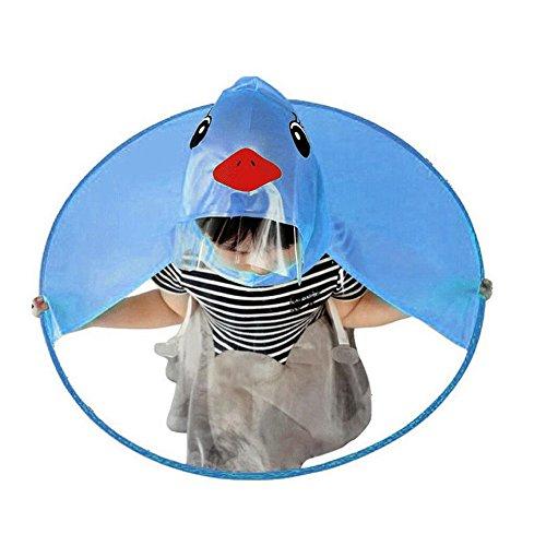 Leey LeeY Kinder Regenmantel Kinder Regen Mantel für Jungen Mädchen Kleine gelbe Ente Windbreaker Kapuzen Bomberjacke wasserdichte Kapuze Jacke Outdoor Alter 2~10 (Blau, S)