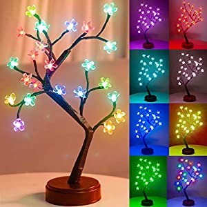 Pooqla RGB Cherry Blossom Tree Light with Remote Control 16 Color-Changing LED Artificial Flower Bonsai Tree Table Top Lamp Modern Home Lit Tree Centerpieces Decoration