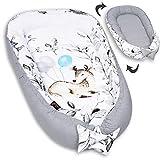 PALULLI Kuschelnest 2-seitig Babynest Babynestchen Baby Nest Nestchen Reisebett Wickelauflage Kuschelbett, Kokon Kokon für Babybett - Babys und Säuglinge, 100% Baumwolle OEKO TEX (BAMBI II)