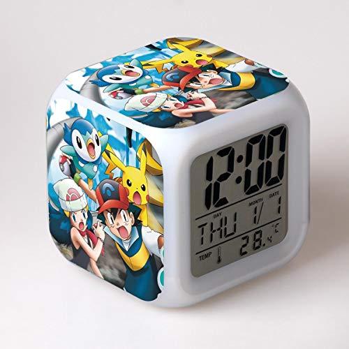 FDGFDG Pet Digitale LED Wecker Kinder Monster niedlichen Cartoon Elfen 3D Aufkleber multifunktionale elektronische Uhr Uhr Geschenke für Kinder