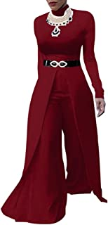 Evesymil Women Long Sleeve Wide Leg Pants Overlay Jumpsuit Rompers Without Belt