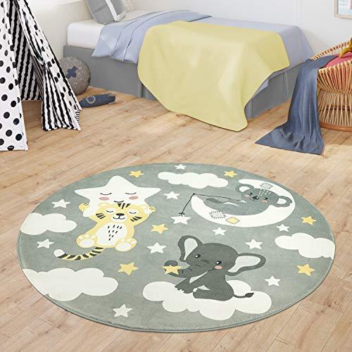 TT Home Tapis Chambre Enfant Tapis Tapis Bébé Koala Éléphant Nuages Étoiles Ciel Lune, Couleur:Gris, Dimension:Ø 120 cm Rond