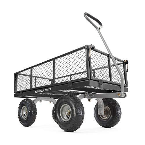 Gorilla Cart 800 Pound Capacity Heavy Duty Durable Steel Mesh Convertible Flatbed Garden Outdoor Hauling Utility Wagon Cart, Black