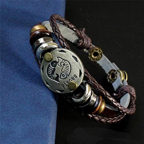WODESHENGRI Armband, vrouwen mannen vissen sterrenbeeld multi-layer gevlochten armbanden persoonlijkheid Vintage Punk Charme armbanden sieraden verjaardag cadeau