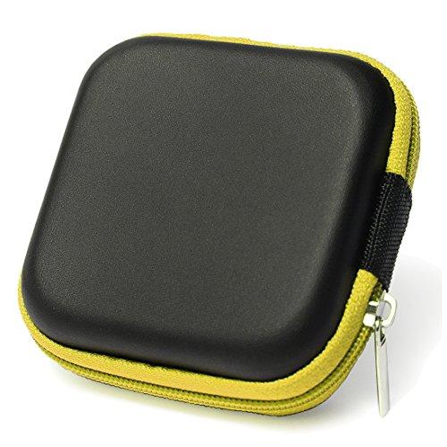 Caja estuche de auriculares - SODIAL(R) Cubierta caja estuche protector bolsa de auriculares de diseno simple cuedrado para cables de auriculares moneda o cualquier otro objeto pequeno amarillo