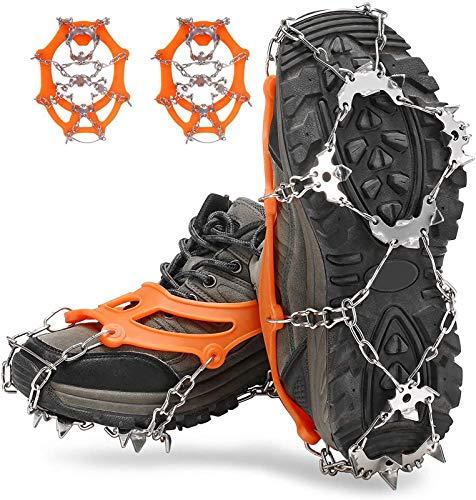 LOWW Crampones para hielo con 19 puntas de acero inoxidable, antideslizantes, profesionales, para nieve y hielo, senderismo, invierno (naranja, L)
