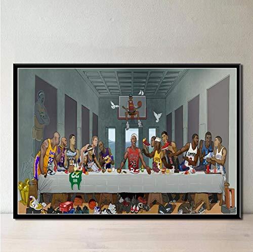 KKLDB Impresiones sobre Lienzo 1 Pieza Super Basketball Star Last Supper MVP Sneaker Painting Poster Wall Art Home Decor (60X85Cm) con Marcos