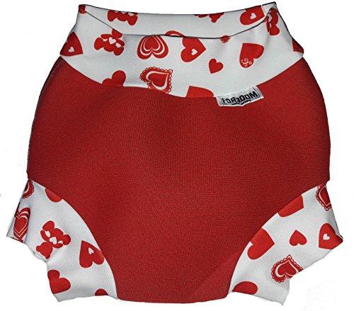 Swim Nappy Maillot de bain en néoprène pour bébé Motif cœurs rouges Taille L 10-14 kg