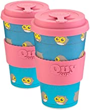 QUY CUP. Blue Owl. Bamboo Coffee To Go Mug - Pack of 2, 14 oz. Italian Design, BPA Free Ecofriendly Cups, 2 Reusable Trave...