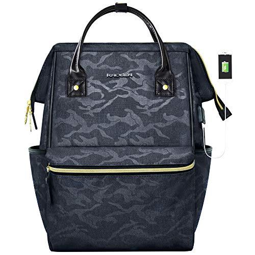 KROSER Laptop Rucksack 15,6 Zoll(39,6cm) Schulrucksack Daypack Tagesrucksack Wasserabweisend Laptop Gepäck Tablet mit USB-Ladeanschluss für College/Reisen/Frauen/Männer-Tarnen Grau MEHRWEG