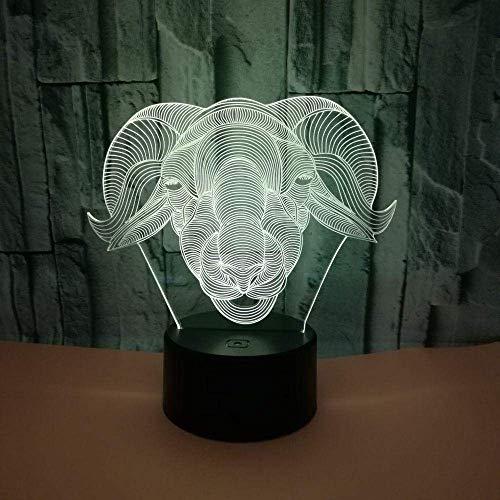 Cabeza de oveja animal 3D Cordero Luces 3D Colorido táctil Led Visual USB Luces Regalo 3D Pequeña lámpara de mesa