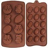Olywee 2 Pezzi Stampi per Cioccolato in Silicone Uovo di Pasqua Cesto di Coniglio Forma Torta Cioccolato Caramelle Stampo Set per la Cottura