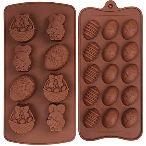 Olywee 2 Piezas de Moldes de Silicona para Chocolate, Huevos de Pascua, Forma de Cesta de Conejo, Pastel, Chocolate, Caramelo, Juego de Moldes para Hornear