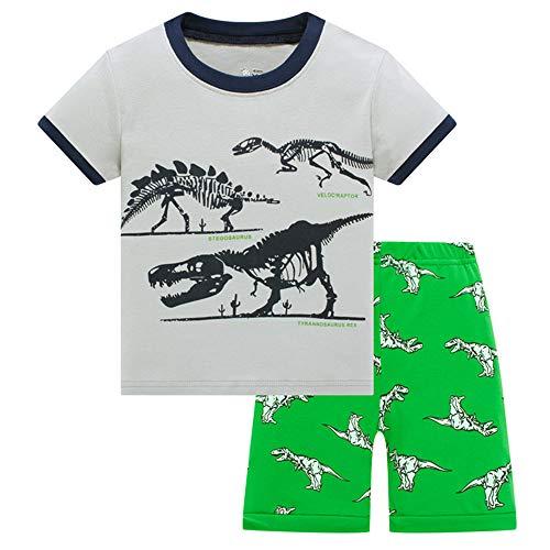 HIKIDS - Pijama Corto para niño - Pijamas de Manga Corta Verano para Niños - Pijama Dos Piezas - Pijamas de Manga Corta para niños Dinosaurio Tiburón Tractor Excavador Avión Cohete Espacial 2-