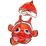 CXYP 水着 キッズ ベビー水着 2点セット 赤ちゃん サカナ 可愛い キャップ 3D 男の子 女の子 85 90 100 海 温泉 記念写真 (95-105cm, レッド)
