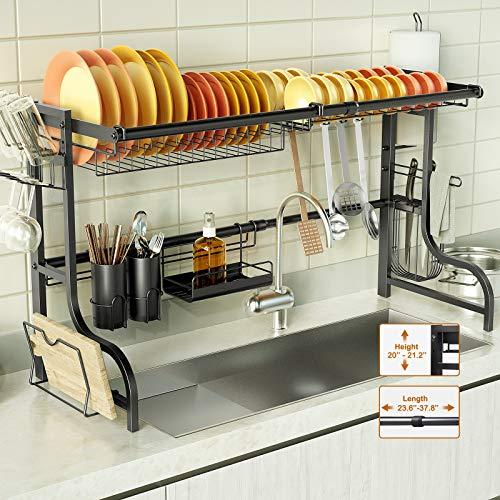 BCGA Over the Sink Dish Drying Rack Adjustable Dish Rack Large Dish Drainer for Kitchen Organization Storage Space Saver Shelf Holder with 10 Utility Hook Tableware Drainer Utensil Holder Black