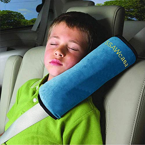Seatbelt Pillow for Kids in Car,Travel Pillows with Clips for Toddler,Softly Seat Belt Pillow for Carseat,Washable Seat Strap Cushion Pad Cover for Head Neck Support,Best Gift for Children (Blue)