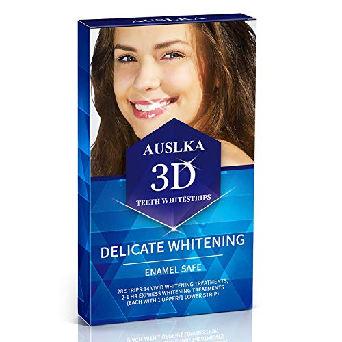 AUSLKA Zahnweiß-Streifen Packung mit 28 Streifen, weißmacherempfindlichen Zähnen, 3D-Bleaching-Kit, professionellen, effizienten Zahnweißstreifen