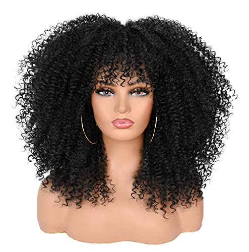 ANNISOUL 16Inch Curly Wigs for Blac…