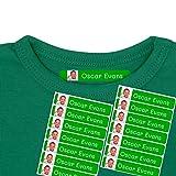 50 Etiquetas termoadhesivas para ropa personalizadas con foto o imagen, para marcar cualquier prenda con ayuda de la plancha. 6 x 1 cms. Color Verde Oscuro
