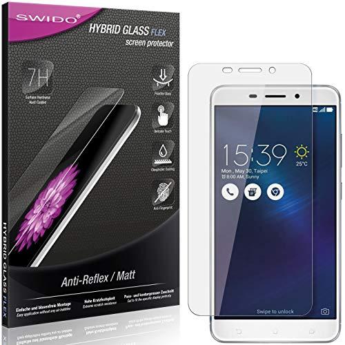 SWIDO Panzerglas Schutzfolie kompatibel mit Asus Zenfone 3 Laser Bildschirmschutz Folie & Glas = biegsames HYBRIDGLAS, splitterfrei, MATT, Anti-Reflex - entspiegelnd