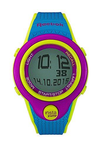 Reebok Pump InstaPump Digital Men's Chrono Watch Blue Green and Fuschia Purple RC-PIP-G9-PFPL-WB