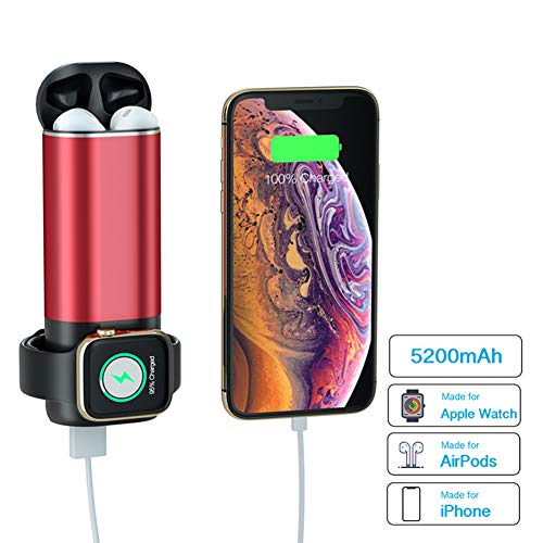 NeotrixQI AirPods Charging Case Replacement Portable Charger, 5200mAh Power Bank Multi-Function External Battery Pack Compatible with Apple Watch Series 1 2 3 4 iPhone Xs/XR/X/8 Plus/8 (Red)