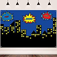 HD Super City Backdrop FHZON 10x7ft Buildings Yellow Light ue Sky Background for Photography Wallpaper Baby Shower Children Adults Room Decoration 291
