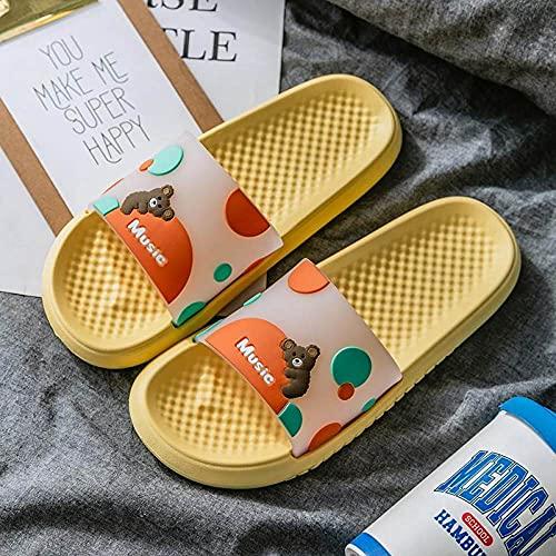 Zapatillas De Ducha para Mujeres,Mujer Hombre Zapatillas Verano Playa Diapositivas Chanclas Oso De Dibujos Animados Niños Niñas Señoras Amantes Casa Sandalias De Suela Gruesa Zapatos De Baño, Ama