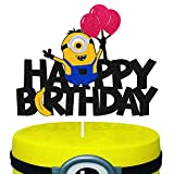 Happy Birthday Cake Topper for The-Minions Theme Kids Boy Girl Yellow Cartoons Birthday Party Supplies Black Glitter Decorations Double Sided
