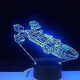 Nur 1 Stück 3D LED Raumschiff Space Fighter 7 bunte Farbverläufe LED Acrylplatte Schreibtischlampe...