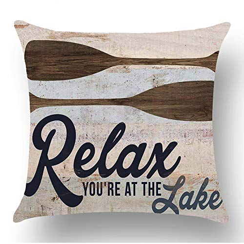 WePurchase Retro Blue Word Art Relax Youre at The Lake Quote Brown Paddle Summer Oars Decoration Cotton Linen Decorative Home Sofa Living Room Throw Pillow Case Cushion Cover Square 18x18 Inches